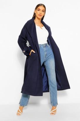 boohoo Textured Twill Wool Look Trench Coat