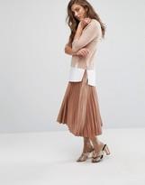 Miss Selfridge Foiled Pleated Midi Skirt