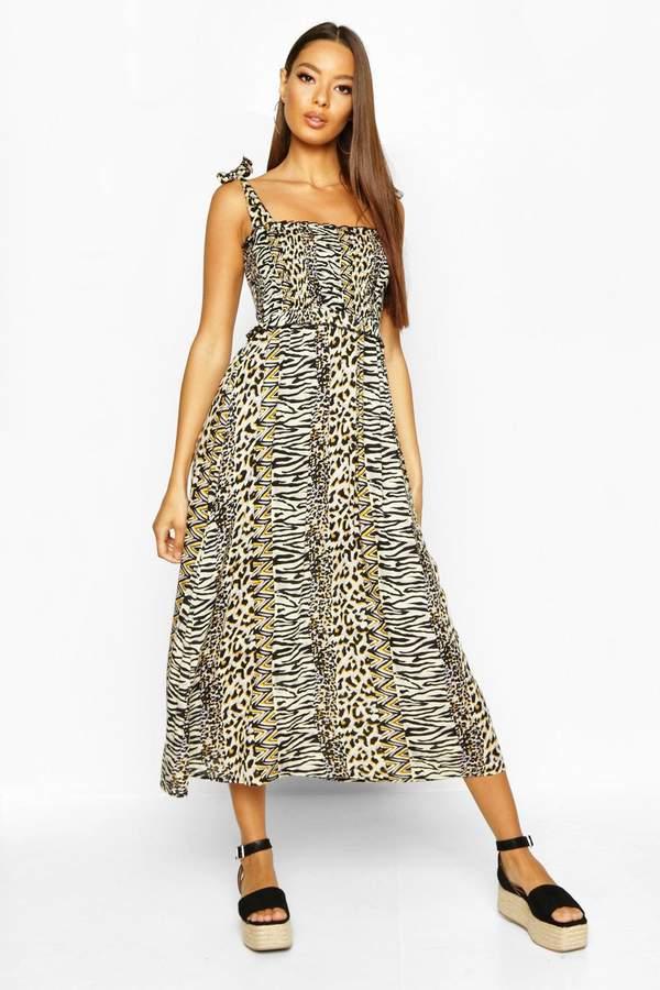 boohoo Woven Leopard Print Shirred Sundress