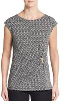 Ivanka Trump Embellished Geometric Print Top