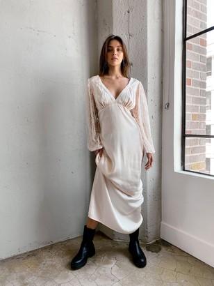 Nasty Gal Womens Vintage Inspired Lace Maxii Dress - Beige - 8, Beige