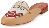 Malone Souliers Neva Leather & Textile Flat Mule, Neutral