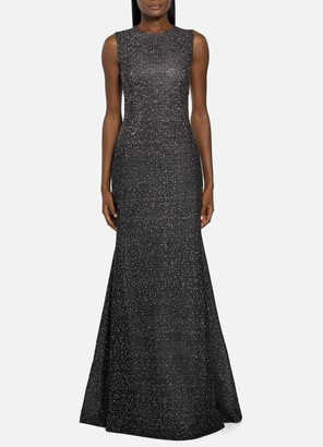 St. John Bejeweled Silver Netting Gown