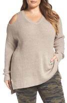 Caslon Plus Size Women's Cold Shoulder Tunic Sweater