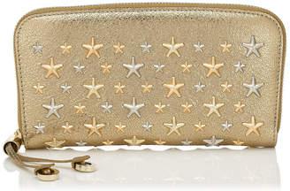 Jimmy Choo FILIPA Gold Glitter Leather Wallet with Multi Metal Stars