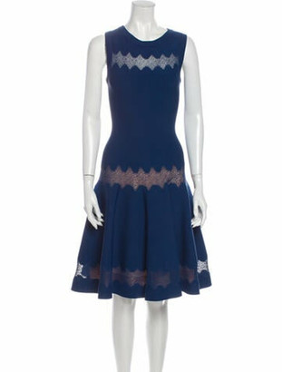Alaia Fit and Flare Lace Detail Knee-Length Dress Blue