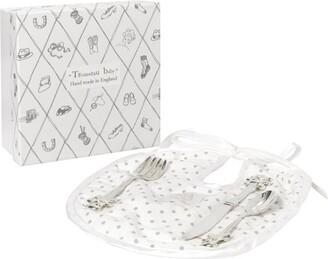 English Trousseau Cutlery And Bib Set