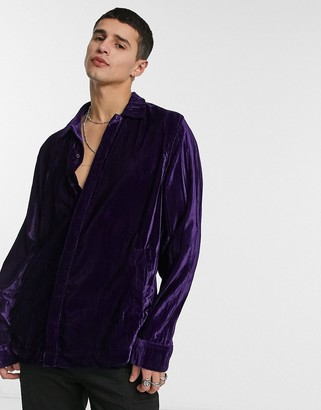 ASOS DESIGN crushed velvet overshirt in purple