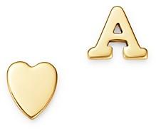 Zoe Lev 14K Yellow Gold Heart & Initial Stud Earrings