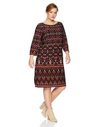 London Times Women's Plus Size 3/4 Sleeve Matte Jersey Shift Dress