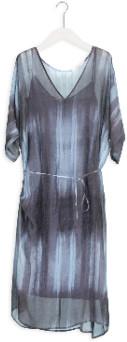 Humanoid Small Ash Long V-Neck Evi Dress - small   silk   blue - Blue/Blue