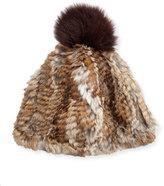 Adrienne Landau Rabbit & Fox Fur Pompom Hat, Brown Goma