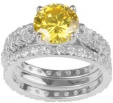 Journee Collection 5 4/5 CT. T.W. Round-cut CZ Basket Set Wedding Ring Set in Sterling Silver