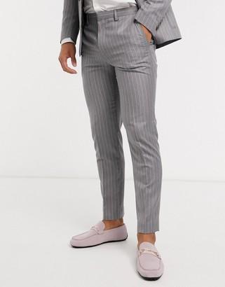 Burton Menswear skinny suit trousers in grey & pink stripe