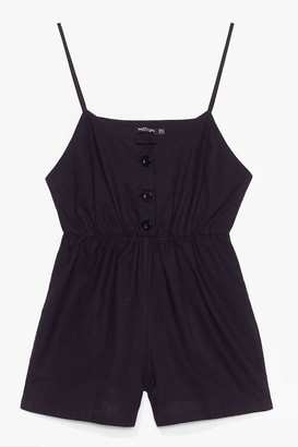 Nasty Gal Womens Close the Lead Button Front Relaxed Playsuit - Black - 6