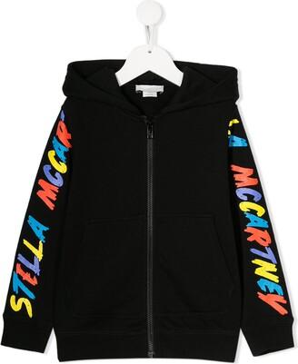 Stella Mccartney Kids Logo Zipped Hooded Jacket