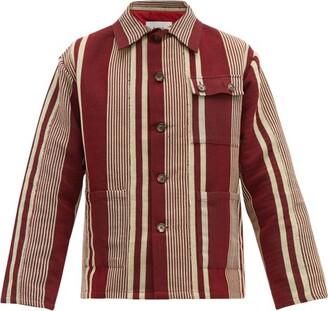 Bode - Striped Cotton Jacket - Mens - Burgundy Multi