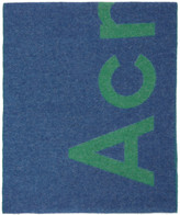 Acne Studios Blue and Green Logo Scarf