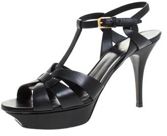 Saint Laurent Paris Black Leather Tribute Platform Ankle Strap Sandals Size 41.5