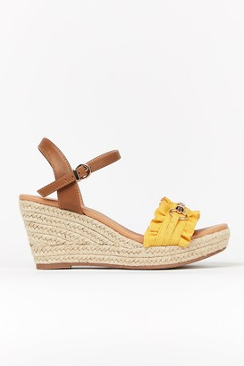 Wallis **WIDE Fit Yellow Ruffle Wedge Sandal