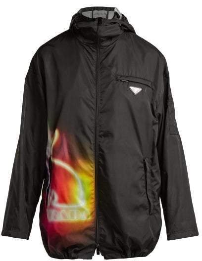 Prada Lightweight Nylon Hooded Jacket - Womens - Black Multi
