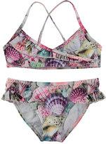 Molo Norma Seashell-Print Bikini, Pink Pattern, Size 2T-12