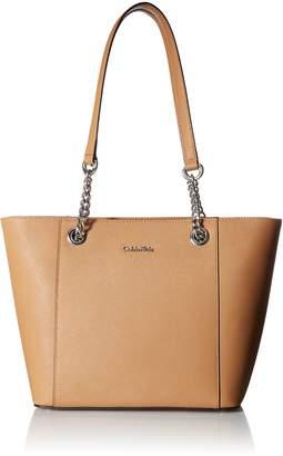 Calvin Klein Hayden Saffiano Leather East/West Top Zip Chain Tote
