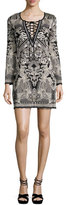 Roberto Cavalli Lace-Up Jacquard Long-Sleeve Dress, Black/White