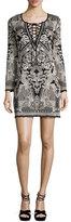 Roberto Cavalli Lace-Up Jacquard Long-Sleeve Dress, Black/White