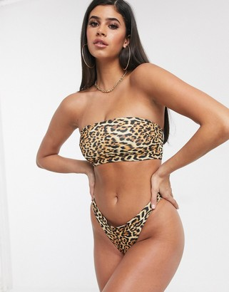 ASOS DESIGN recycled mix and match bandeau bikini top in animal leopard print