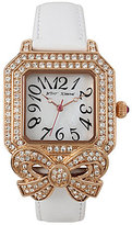 Betsey Johnson Vintage Crystal Bow Leather-Strap Watch