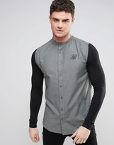 SikSilk Shirt With Jersey Sleeves In Skinny Fit