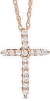 Zales 1/8 CT. T.W. Diamond Cross Pendant in 14K Rose Gold