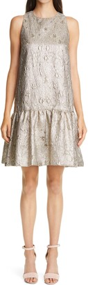 Lela Rose Flounce Hem Metallic Matelasse Dress