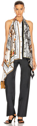 Burberry Knit Tank With Printed Silk Panels in Grey Melange | FWRD