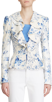 Ralph Lauren Collection Mitchell Floral-Toile Print Leather Blazer Jacket