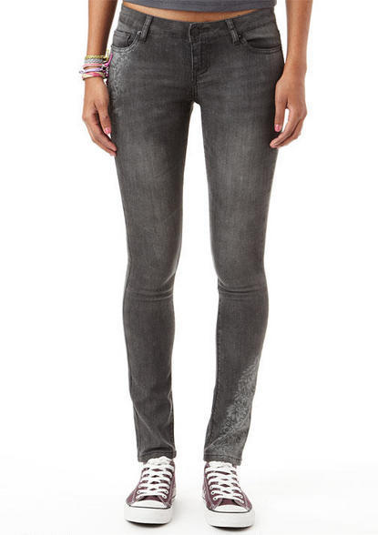 Delia's Olivia Charcoal Lace Low-Rise Jegging