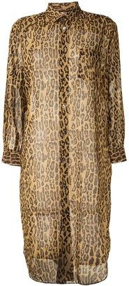 Junya Watanabe Semi-Sheer Leopard Print Shirt Dress