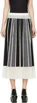 Viktor & Rolf Ivory Silk Gorgette Black & Grey Paneled Skirt