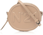 N°21 Beige Leather Oval Crossbody Bag w/Metallic Embossed Logo