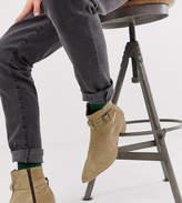 Asos Design ASOS DESIGN cuban heel western chelsea boots in stone suede