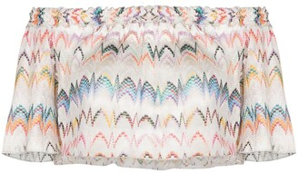 Missoni Mare Off-Shoulder Zigzag Embroidered Blouse