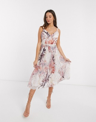 Little Mistress Lea pleated midi dress in marble print