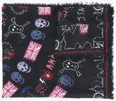 Alexander McQueen skull and flag print scarf
