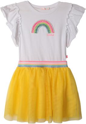 Billieblush Girl's Embellished Rainbow Tulle Short-Sleeve Dress, Size 2-10