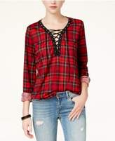 Polly & Esther Juniors' Lace-Up Plaid Top