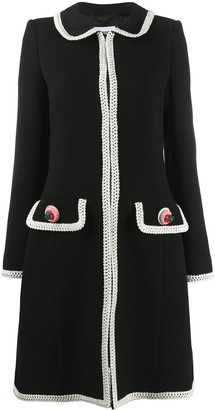 Moschino Contrasting-Trim Mid-Length Coat