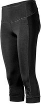 Therapy Black Mesh-Overlay Ruch-Accent Capri Leggings