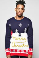 Boohoo Yellow Snow Merry Christmas Jumper