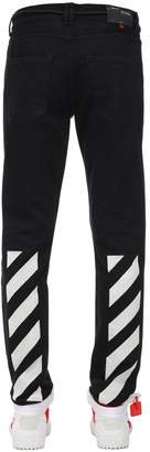 Off-White Off White DIAGONAL STRIPES SLIM COTTON DENIM JEANS